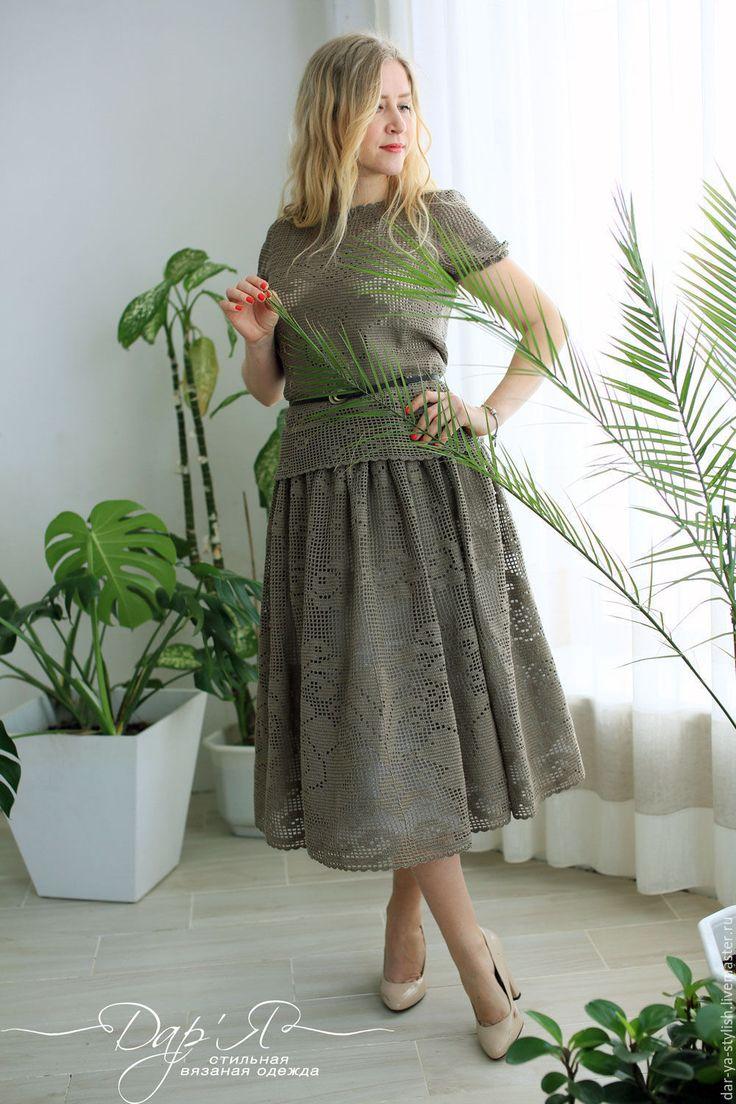 """Купить """"Роза пустыни"""" - кружевной вязаный крючком элегантный костюм на выход - костюм, женский костюм"""