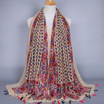 Feminino popular printe girassol bohemian borlas viscose floral headband longo xailes muçulmano HIJAB lenços/cachecol 10 pçs/lote
