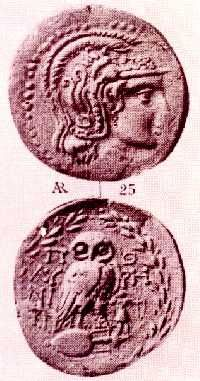 THE REPRESENTATION OF THE OLIVE TREE ON CRETAN COINS. Silver four-drachma coin from Polyrhenium, 2nd c. BC.