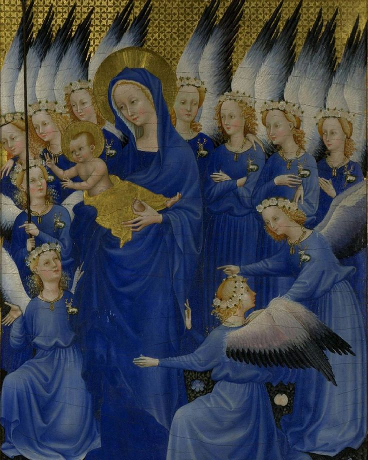 The Wilton Diptych, Madonna e angeli, artista sconosciuto probabile francese. Tavola in stile gotico internazionale, raro esempio superstite dell'iconografia sacra inglese, datata circa 1395-99. Londra, National gallery.  #goticointernazionale #wiltondiptych #england #nationalgallery