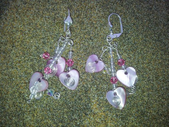 Valentines Pink Shell Heart and Swarovski Crystal by OnenJewellery, £12.00