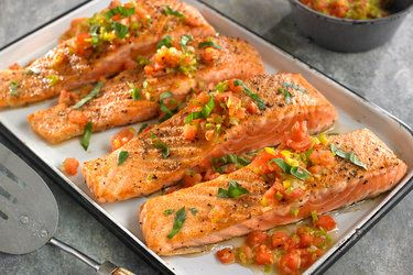Sautéed Salmon w/ Leeks and Tomatoes - Pierre Franey