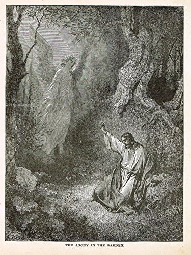 Gustave Dore's Illustration - THE AGONY IN THE GARDEN - Woodcut - c1880