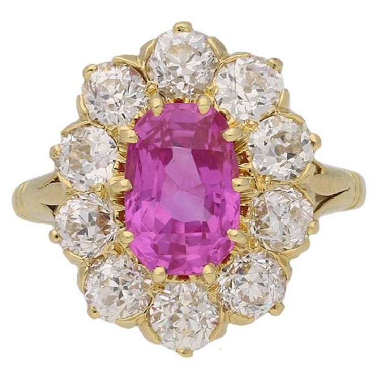 1900s Antique Pink Sapphire Diamond Gold Coronet Cluster Ring