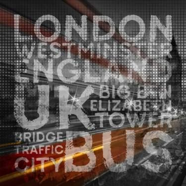 Graphic Art LONDON Westminster Bridge Traffic #wallart #London #moderrn #decorative #streetscene #typography #art