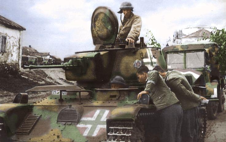 Német katonák Magyar Toldi tankot vizsgálnak.