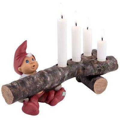 Adventstage, Birk, træstub, t/ 4 kronelys