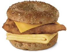 A breakfast portion of our famous boneless breast of chicken, served between a slice of American cheese and a folded egg on a toasted, sunflower multigrain bagel. Also available with a breakfast portion of our spicy chicken breast.