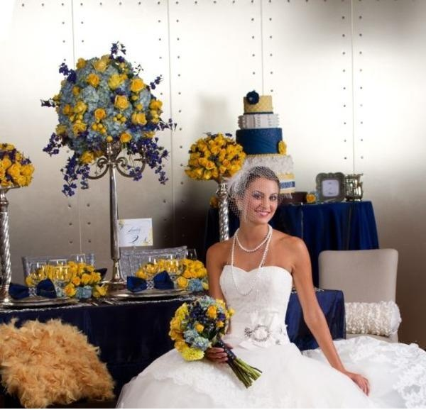 Navy Blue And Yellow Wedding Tablescape