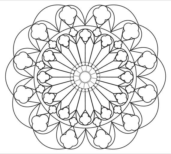 relaxing mandala coloring page simple and large spaces for easy coloring digital download stress relief relaxing