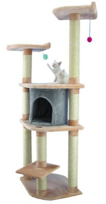 """Faux Fur Cat Gym  - Overall size 64""""Hx34""""Lx24""""W  - Board material Pressed Wood  - Covering material Faux Fur  - Base plate 22""""x18""""  - Max holding weight 40lbs  - One cat condo 14""""Hx14""""W  - Two cat perches 14""""x14""""  - Eight sisal cat scratching posts. They measure 3.5"""" and are wrapped in 1/4"""" sisal rope: Cats, Condo, Pet Furniture, Almonds, Pets, Armarkat Cat, Cat Trees, Blanched Almond"""