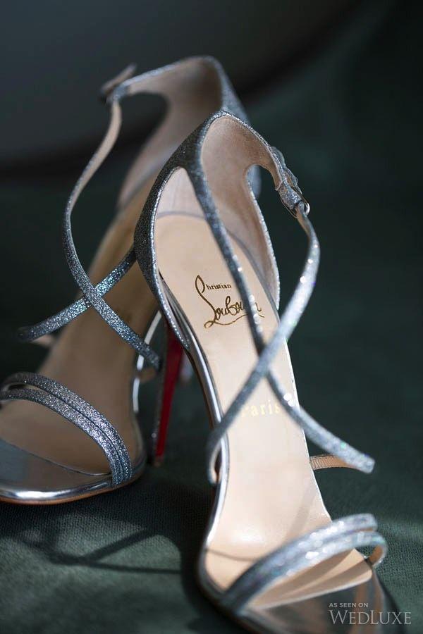 Strappy #silver Christian Louboutin #wedding heels | Photography: Sweet Pea Photography | WedLuxe Magazine #luxurywedding