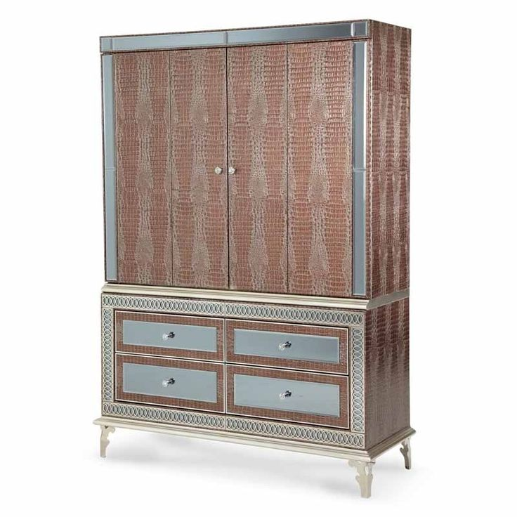 AICO Furniture - Hollywood Swank Modern Media Cabinet w/Accent Mirrors in Amazing Gator - 03081-33
