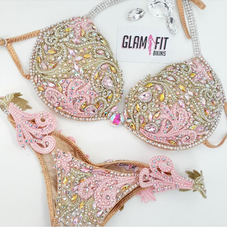 Glam Fit WBFF competition bikini Pearl and crystal