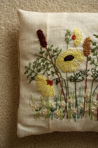 crewel embroidery pillow   Flickr - Photo Sharing!