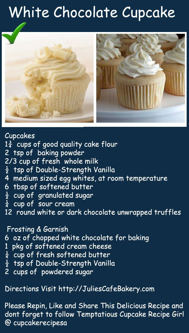 White chocolate cupcake recipe for that heavenly taste. Found on http://juliescafebakery.com please repin like and share it. #cupcake #recipe