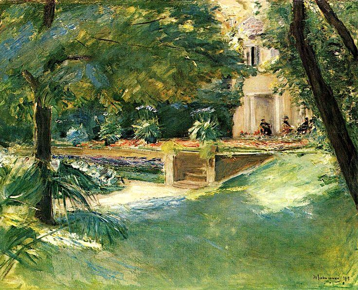 """Max Liebermann (German, 1847 – 1935) """"Garten und Haus am Wannsee"""""""