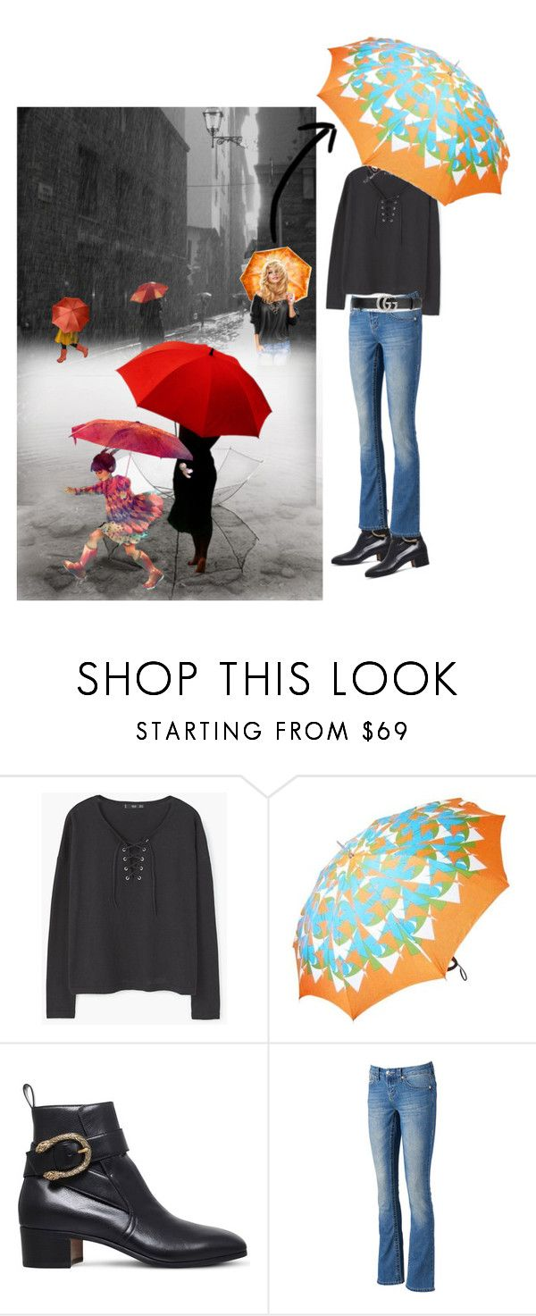 """""""Libby's Umbrella... sunshine in the rain"""" by rhaxkido ❤ liked on Polyvore featuring Gucci, Seven7 Jeans, umbrella and accessories"""