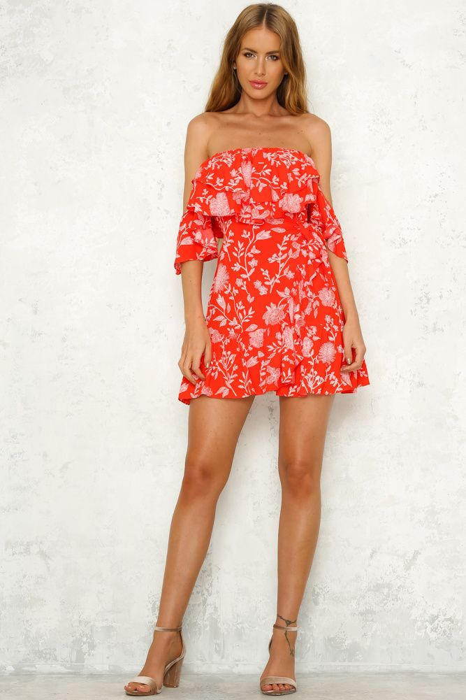 5efaa8bbd2 Off shoulder red floral casual summer dress A line mini boho beach ruffle  dress