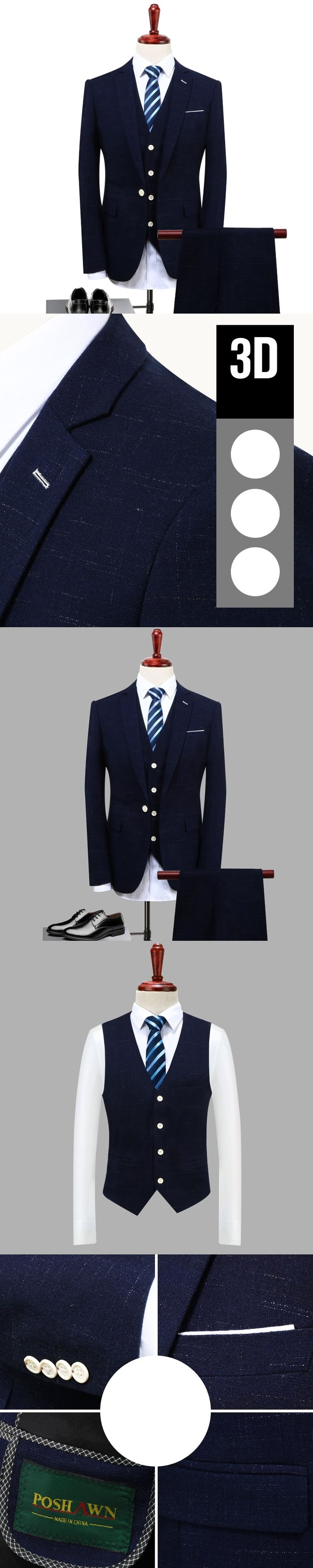 3pc Suit Men Fashion 2017 Autumn Groom Marriage Dress Suits Slim Fit Business Casual Jackets Men Tuxedo 4XL-S (Jacket+Pant+Vest)