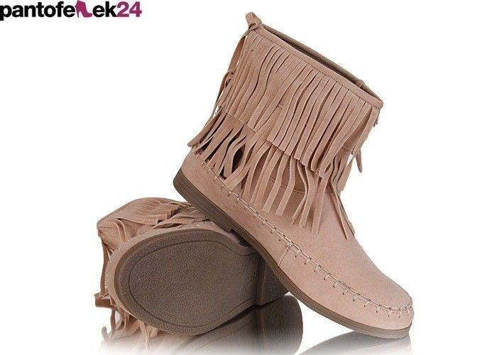 Botki w kolorze beżowym / Beige boots / 34,90 PLN #beige #boots #botki #shoes #obuwie
