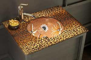 "Must have this leopard countertop and flowered sink. Kohler ""Zanzibar""."