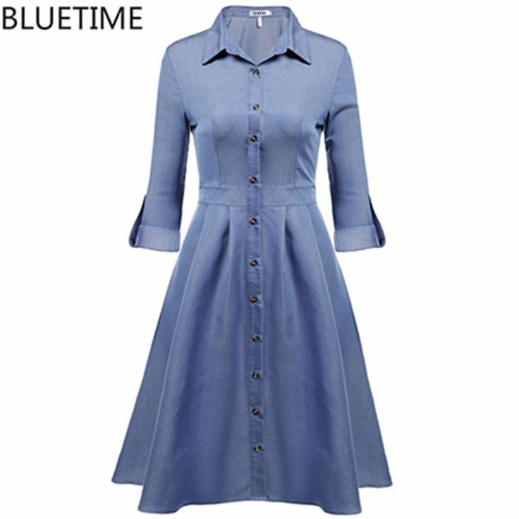 BLUETIME 2017 Vintage Dress Women Tunic Elegant Button Retro Lady Rockabilly Autumn T Shirt Dresses Clothing Robe Femme XXL 25 #Affiliate