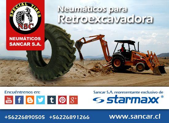 Retroexcavadora  Neumáticos Industriales Starmaxx SM 125 de alto rendimiento en tracción.  Función de auto-limpieza. Mayor vida útil y comodidad sobre superficies duras.  Representante Exclusivo en Chile de Starmaxx Neumáticos Sancar, Todos en un solo lugar. http://www.sancar.cl/ | ventas@sancar.cl | +56226890505 | +56226891266