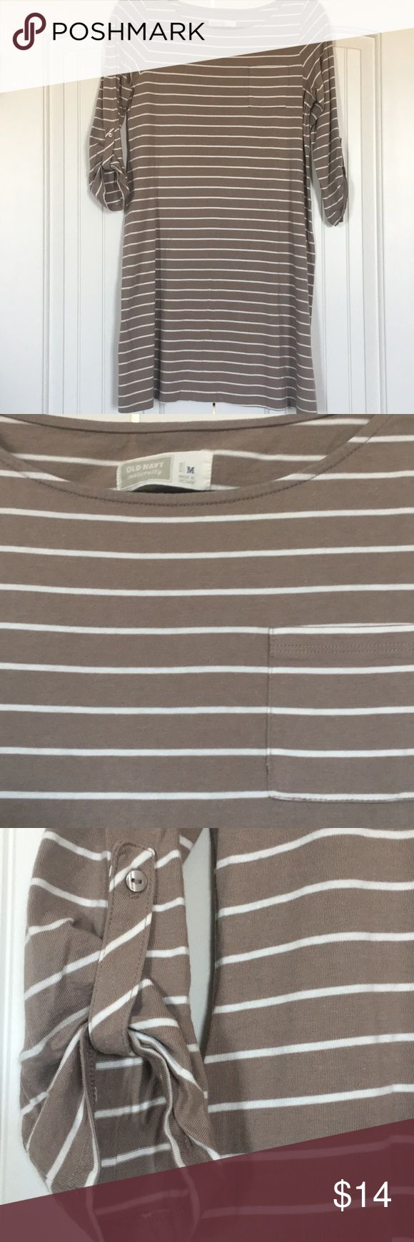 Old Navy Maternity Dress Striped maternity dress with chest pocket.  Great for first and second trimesters.  3/4 length sleeves with button gathering.  Hits above the knee.  Excellent condition.  No stains, holes, or pilling. Old Navy Dresses