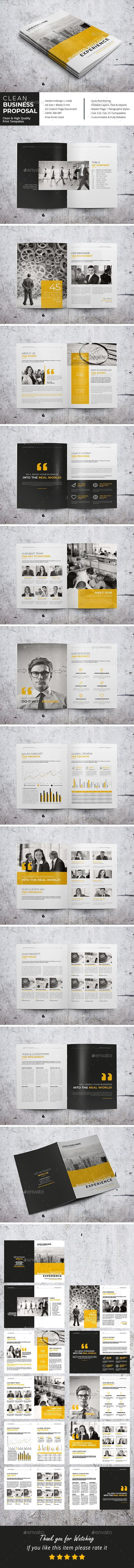 business letter format email%0A Clean Business Proposal Brochure Template InDesign INDD     Pages  A    US  Letter Size