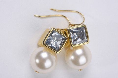 Boho Pearl Earrings: Bold and stylish, these trendy earrings are great for creating a chic fashionable look. 10mm chunky acrylic lustre pearls with square crystal look bead hook earring. 18 carat gold electroplated over brass. $59.90