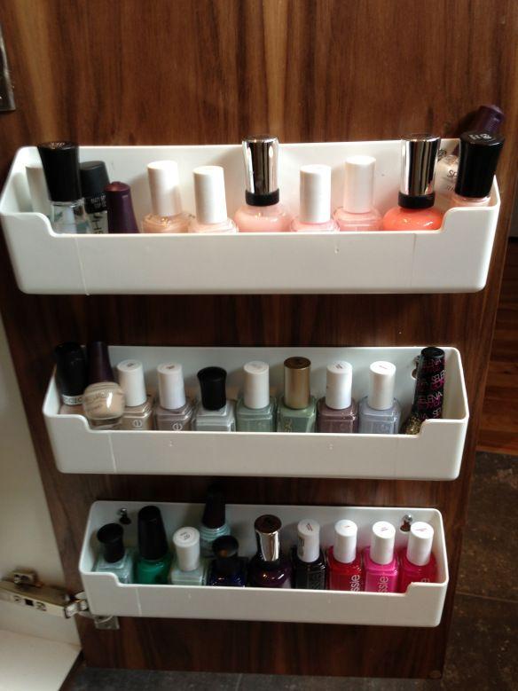 17 best images about nail polish storage on pinterest storage ideas spice racks and shelves. Black Bedroom Furniture Sets. Home Design Ideas