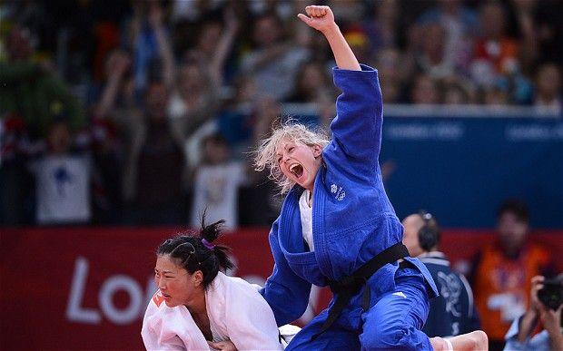 Gemma Gibbons (UK Judo) celebrates after winning agaisnt Mongolia's Lkhamdegd Purevjargal during their women's -78kg judo. She won the Silver Medal.