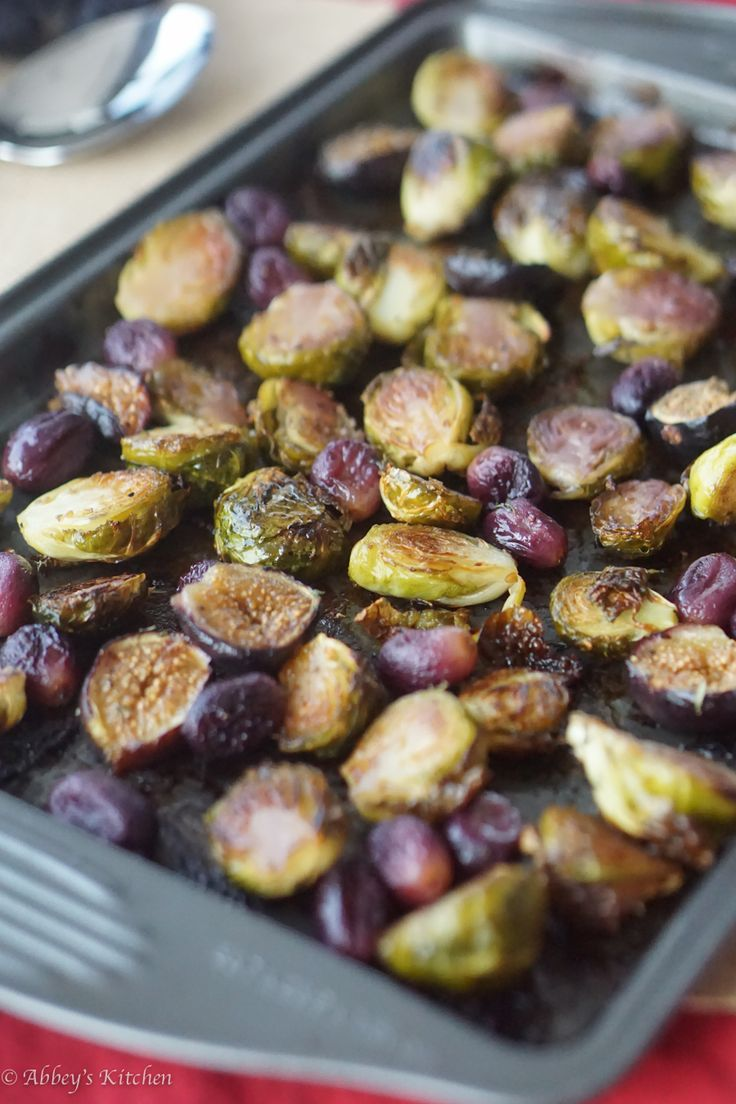 Balsamic Roasted Brussel Sprouts with grapes & figs make a perfect thanksgiving or christmas side dish that's gluten free, low in fat and low carb.