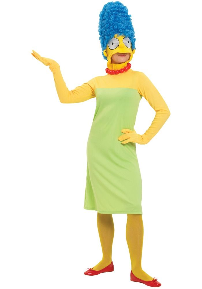 Marge Simpson Deluxe. Mekko, päähine peruukilla, hanskat ja kaulakoru.