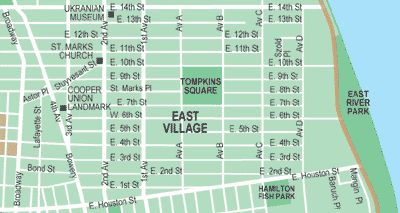 East Village Map (click on the map for an ad-free printable version)