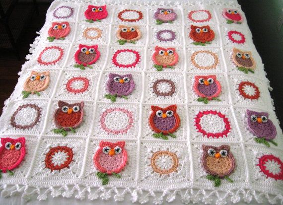 Free Crochet Pattern Owl Blanket : MADE TO ORDER Handmade, Hand Crochet Owl blanket afghan ...