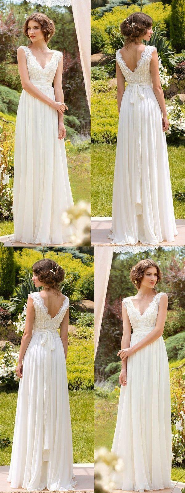 Simple Wedding Dresses V-neck Floor-length Chiffon Sexy Lace... annapromdress.com #SimpleWeddingIdeas #beachweddingdresses