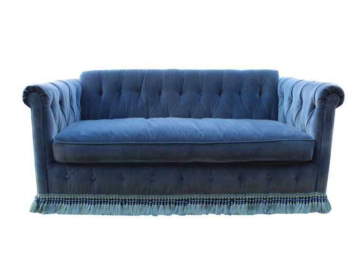 Fit For A Queen! Blue Velvet Button Tufted Sleeper Sofa With Fringe Trim.