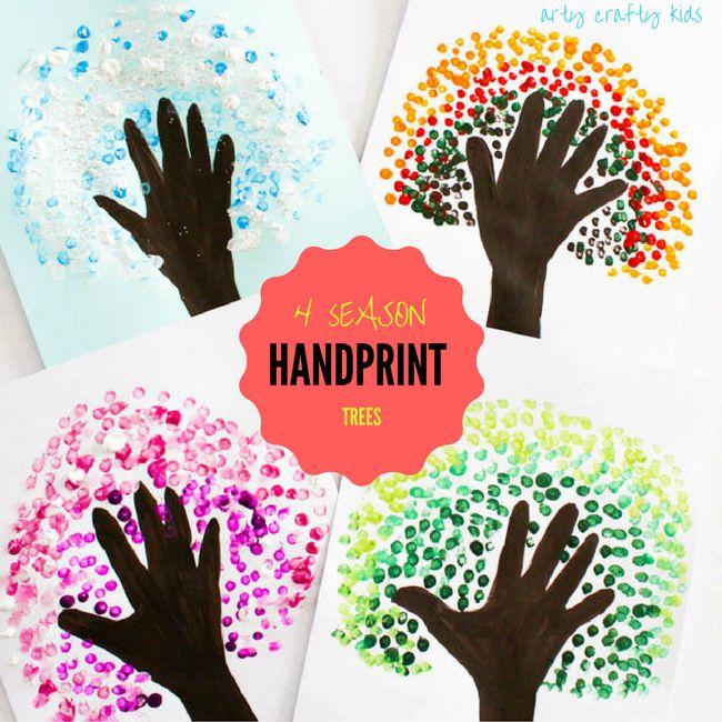 Arty Crafty Kids | Art | Four Season Handprint Tree | A fun seasonal art project for kids. Create Autumn, Winter, Spring and Summer Handprint Trees - a great way for preschoolers to observe seasonal change!