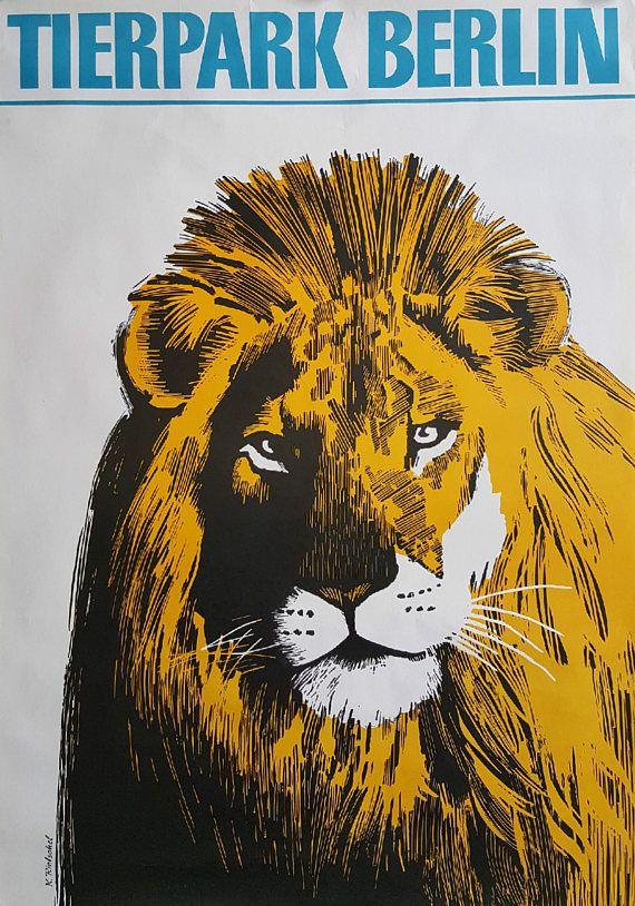 1979 Tierpark Berlin Lion  Original Vintage Poster