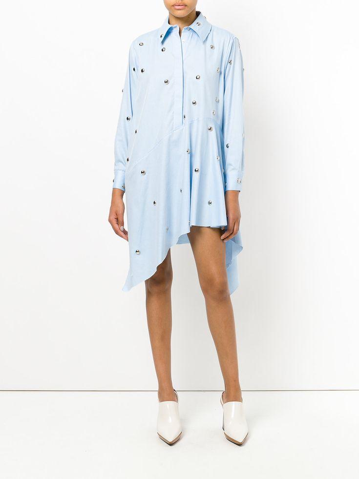 Marques'almeida асимметричное платье-рубашка с заклепками