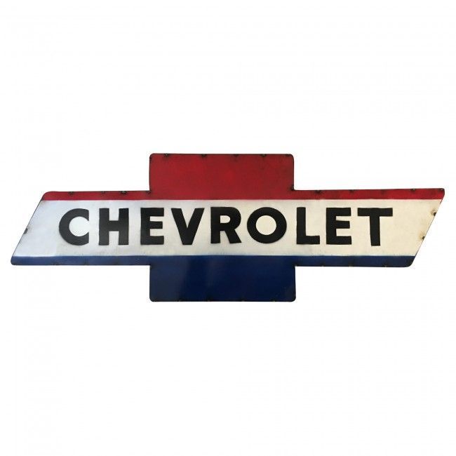 Chevrolet Red White Blue Painted Wall Sign This Chevrolet Retro