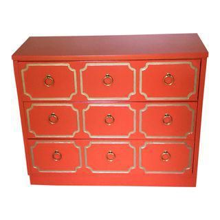 Dorothy Draper Espana Style Orange Chest of Drawers
