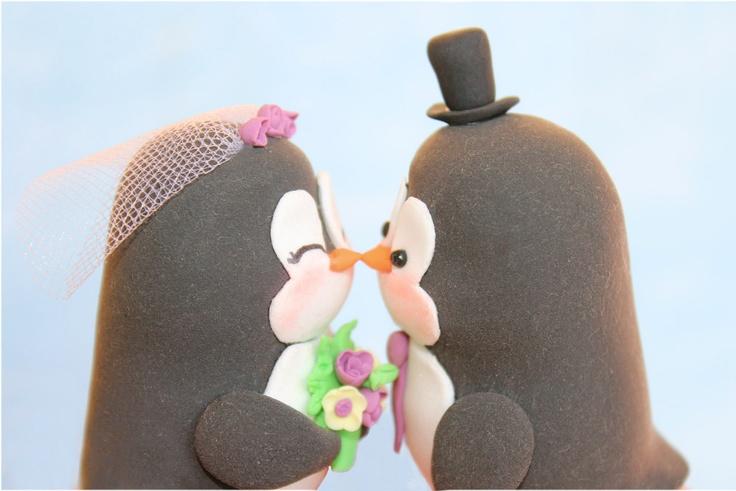 Custom wedding cake toppers penguins @lyndsaybaver