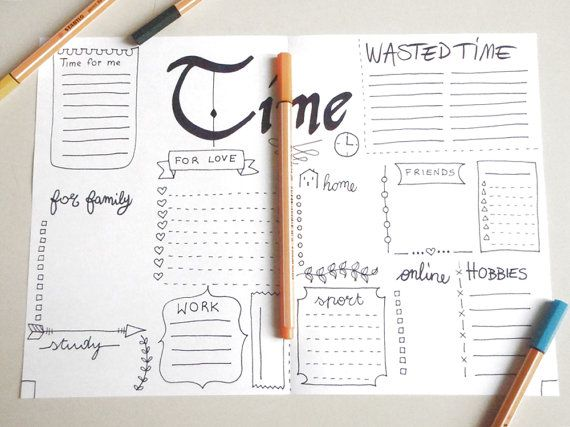 time bujo journal printable bujo wasted time planner organize home journaling mi dori agenda organizer notebook download lasoffittadiste
