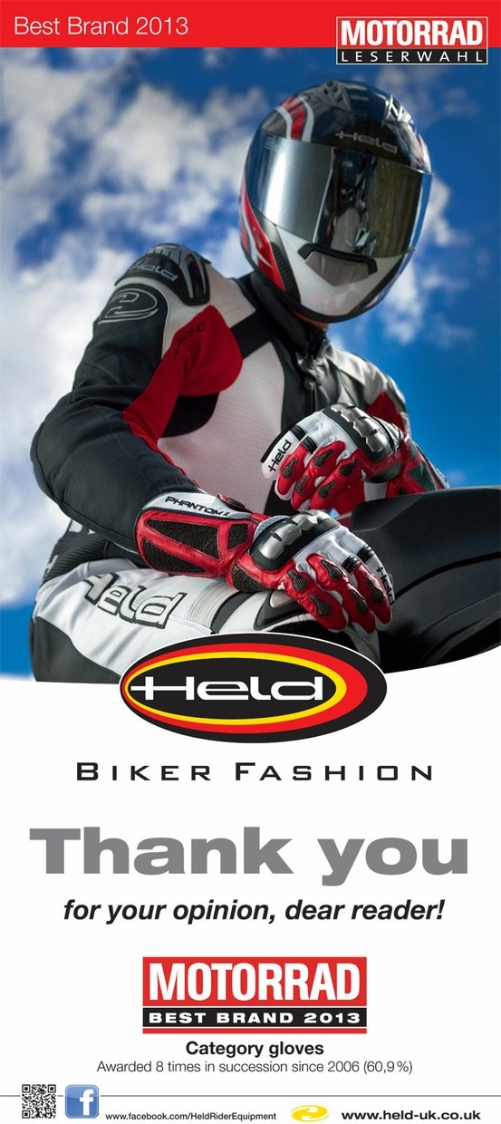 "#Held #Gloves win Motorrad Magazine ""Best Brand"" award - And yes, @GetGeared.co.uk is proud to be the UK's largest retailer for all of Held range of #motorcycle #clothing and #accessories"