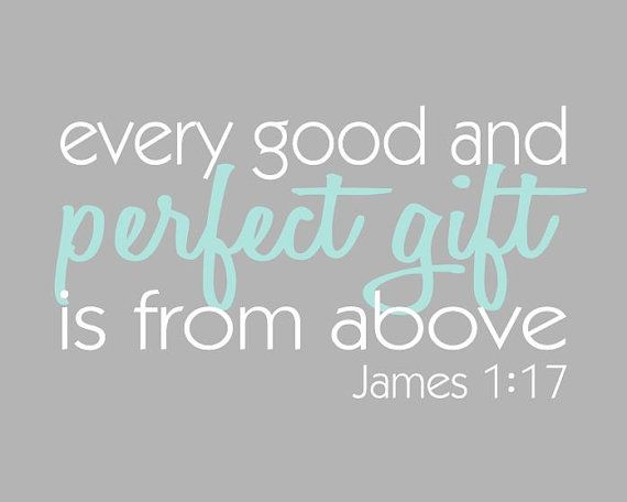 Biblical Wall Art , Every Good and Perfect Gift is From Above - Aqua and Grey Print, James 1:17 Bible Verse, 8x10 Nursery, Adoption on Etsy, $18.00