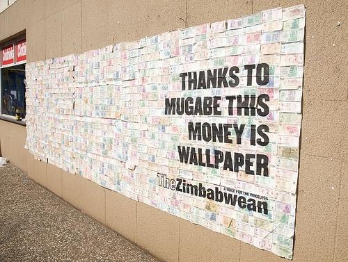 zimbabwe inflation money becomes wallpaper
