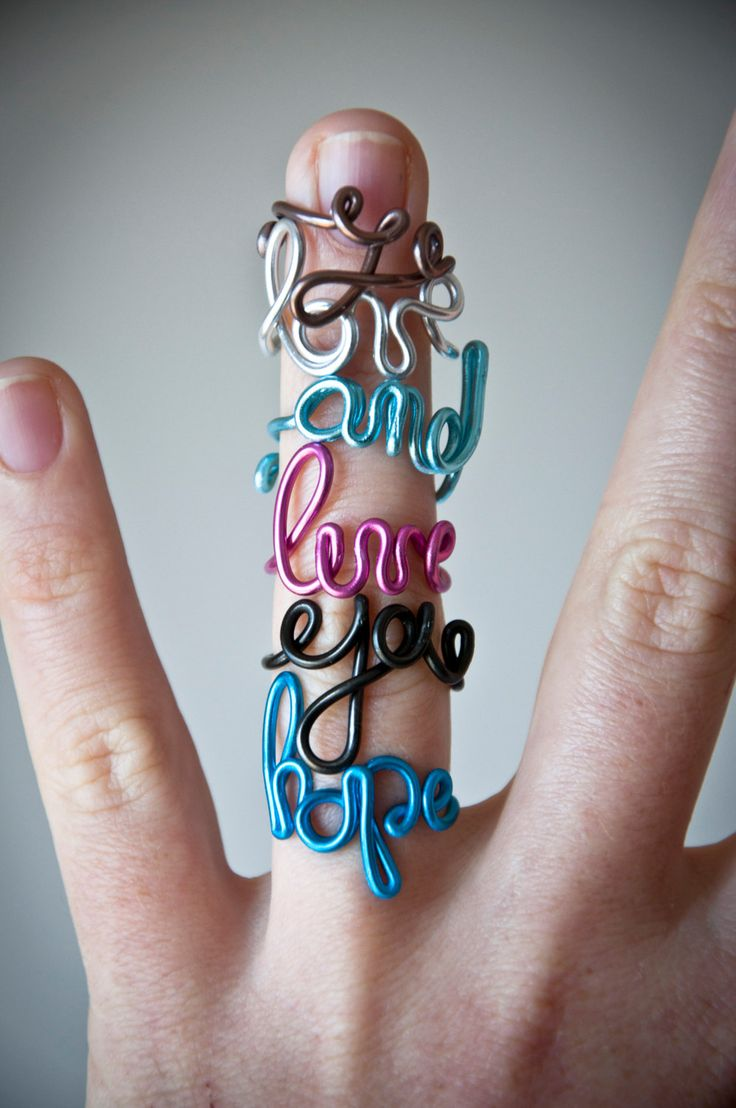 Want these with my kids' names! Custom word ring handmade ring with personalized by SilviaWithLove, €5.00